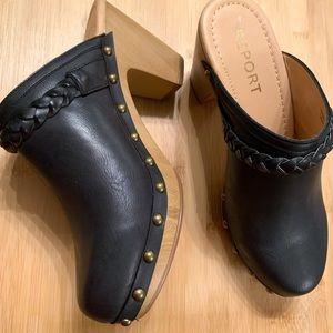 "New Report Black Studded Clogs 3"" Block Heel 7.5"